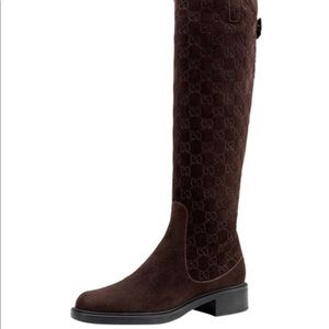Gucci Maud Brown Suede Riding Boots